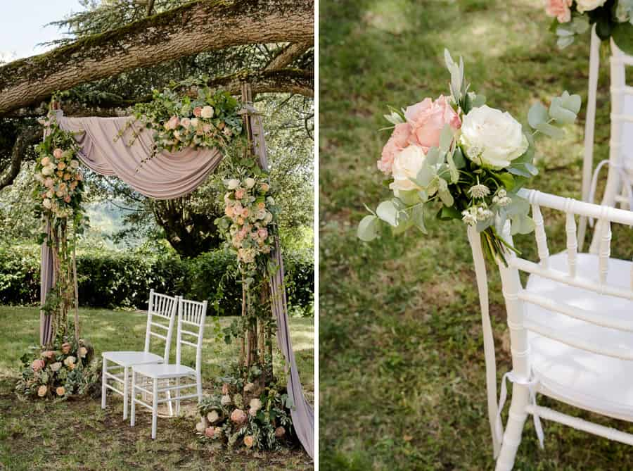 flower decorations ceremony in tuscany