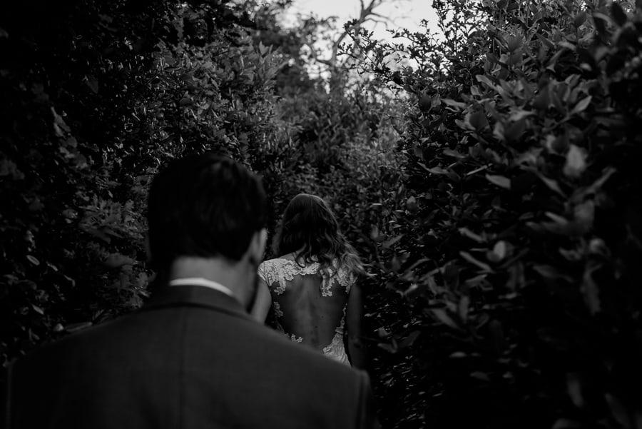 bride walking black and white