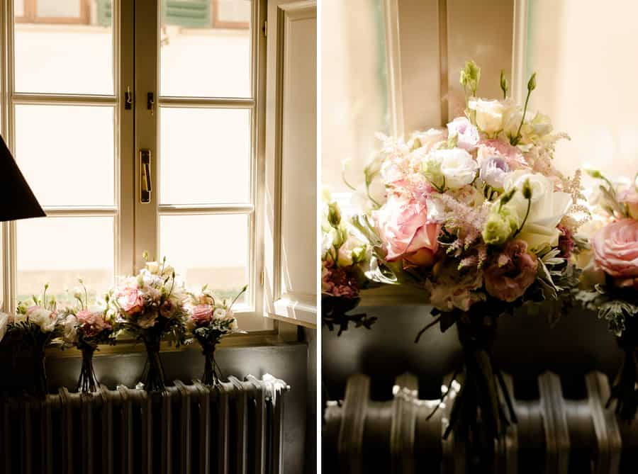 Wedding flowers and bridal bouquet at the window