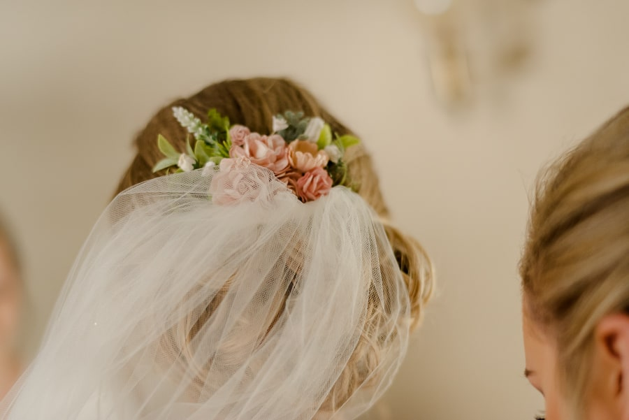 Bridal veil with flower decorations