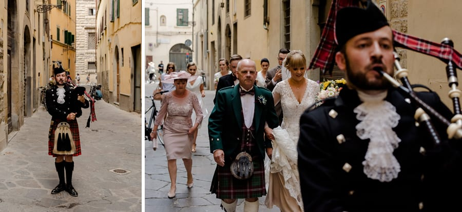 walking in florence of the bride and father with scottish piper