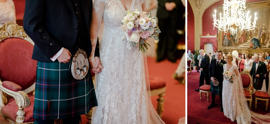bride and groom wedding dress details