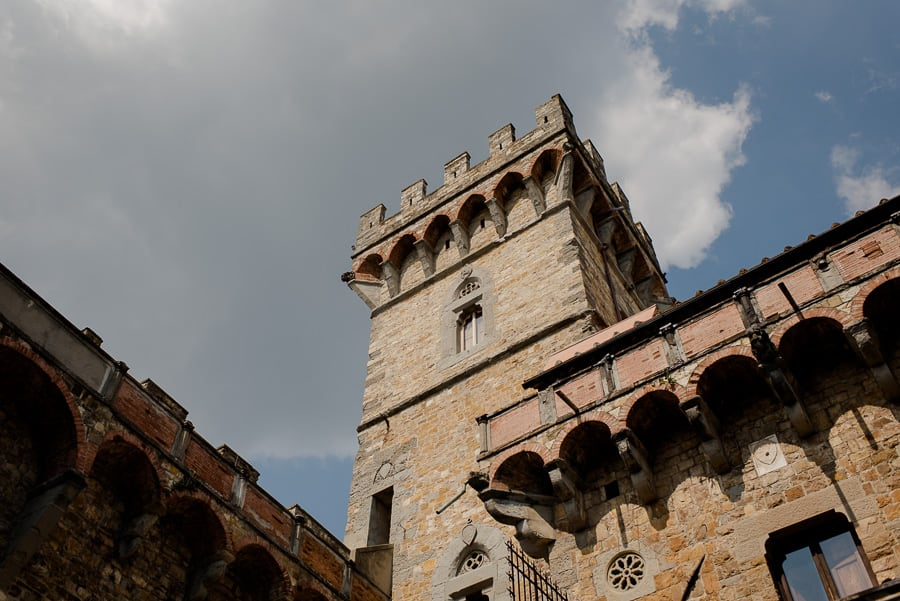 detail of the tower of vincigliata castle