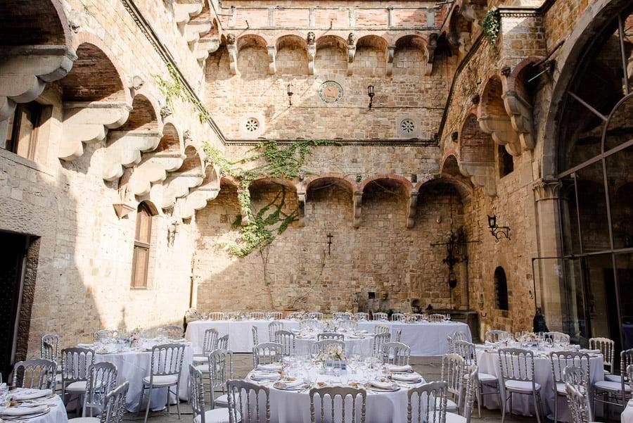 Vincigliata castle inside dinner tables