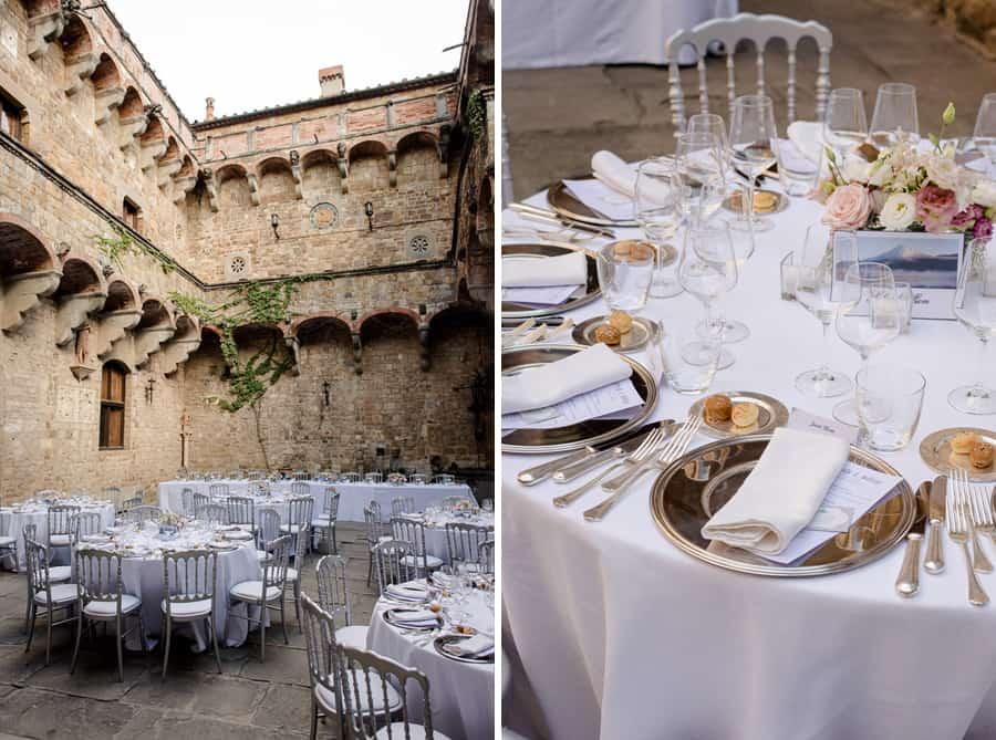 vincigliata castle table settings decorations