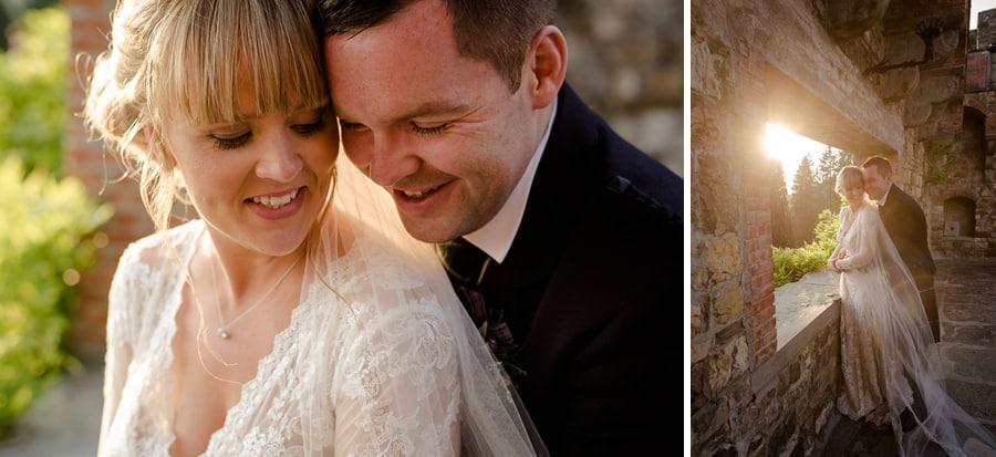 Bride and groom portrait couple vincigliata castle florence