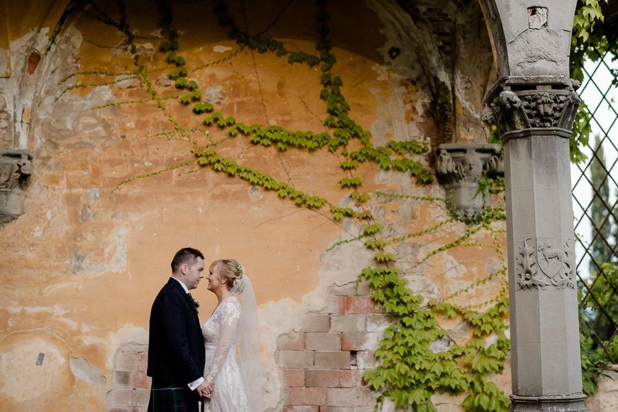 bride and groom portrait session vincigliata castle