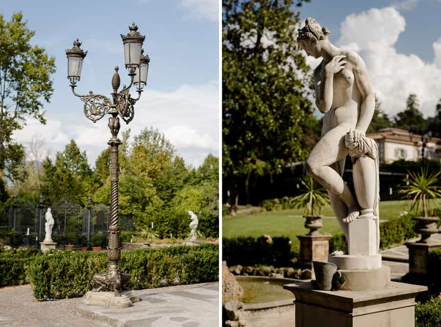 Villa Cora Florence Statues and Lamps