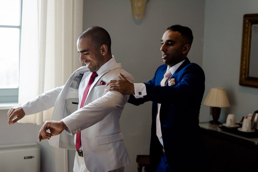 Grrom and his bestman during the getting ready