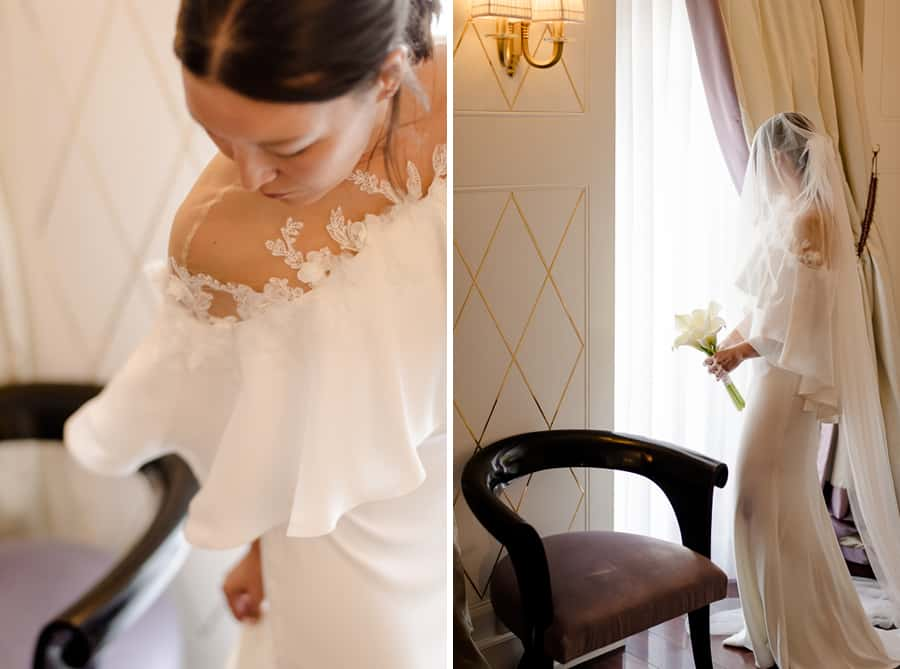 Bride and detail of the dress