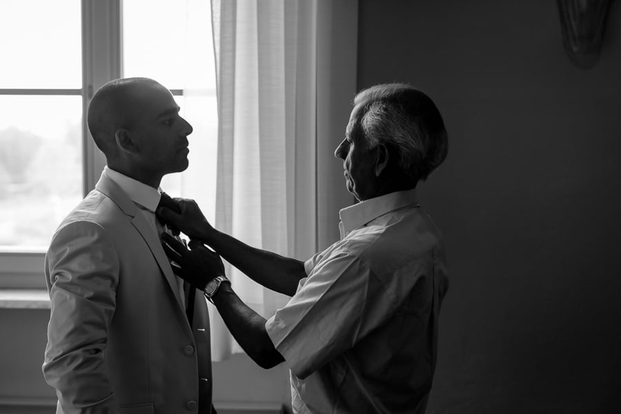 Groom and his father getting ready