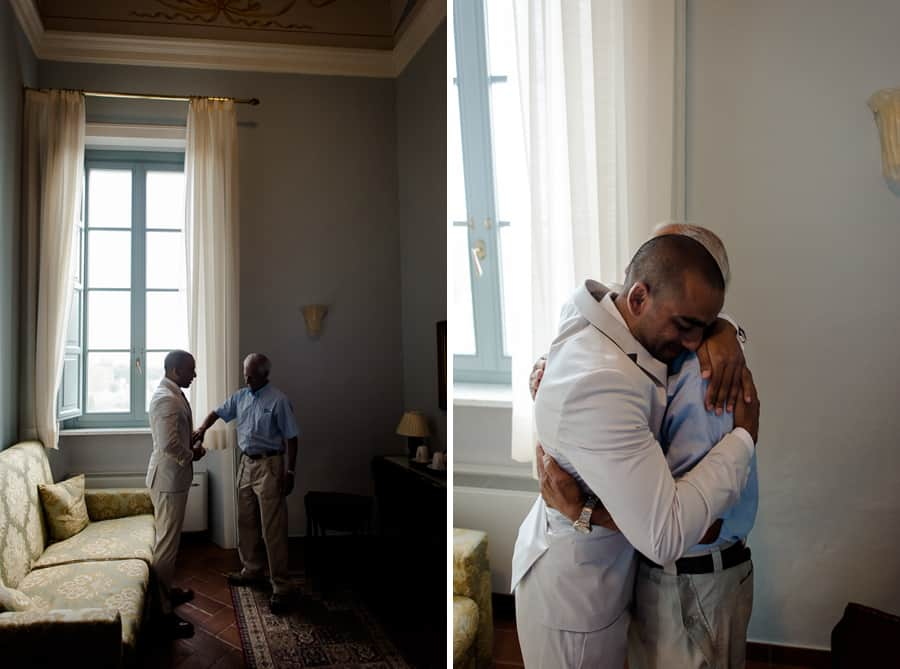 Groom and his father intimate moments