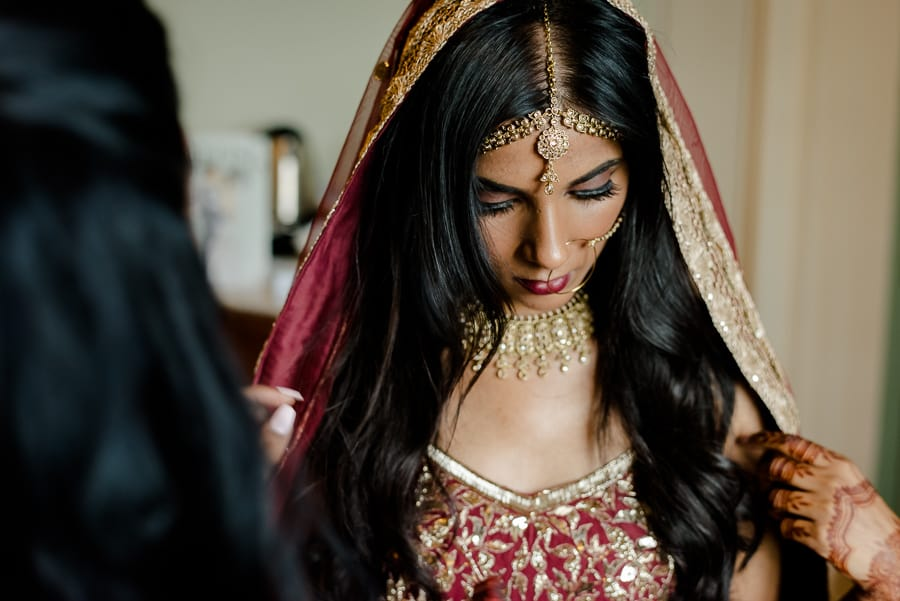 portrait of the bride during her getting ready