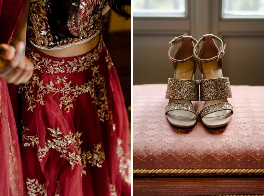 details of the indian bride dress and sparkling bridal shoes