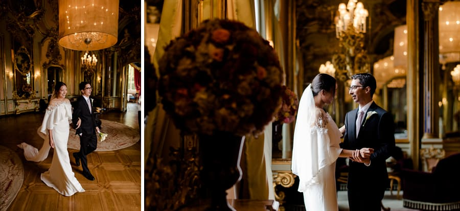 Bride and groom intimate moment in the mirror hall of villa cora