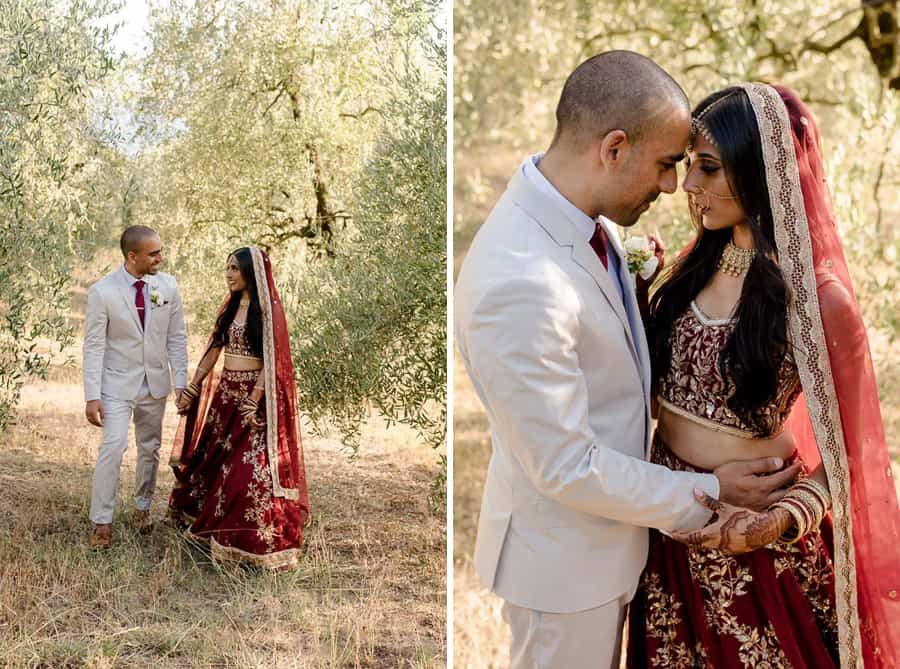 Indian Bride and groom intimate moments in tuscany