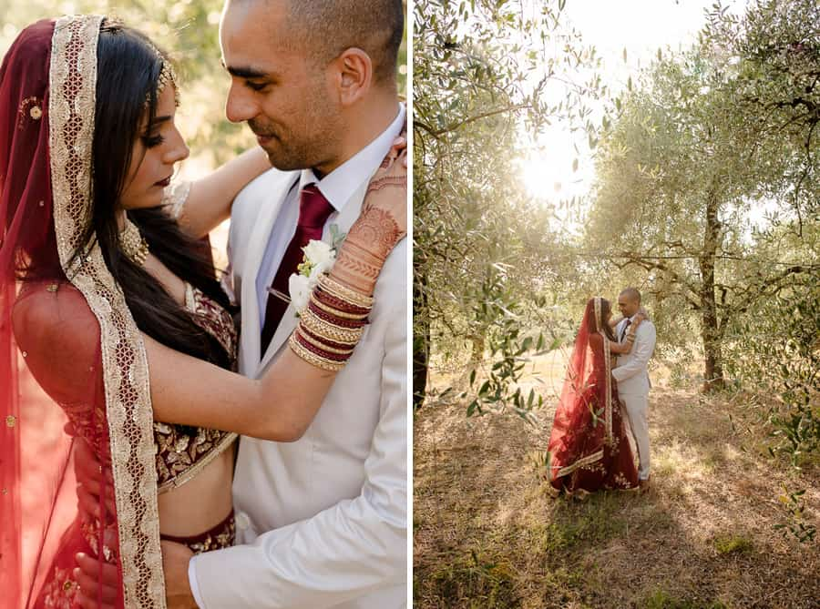 Indian couple embracing intimate way in tuscany