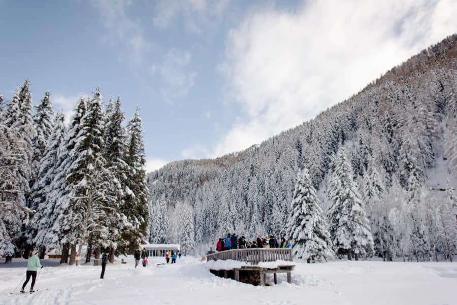 wedding ceremony winter anterselva lake