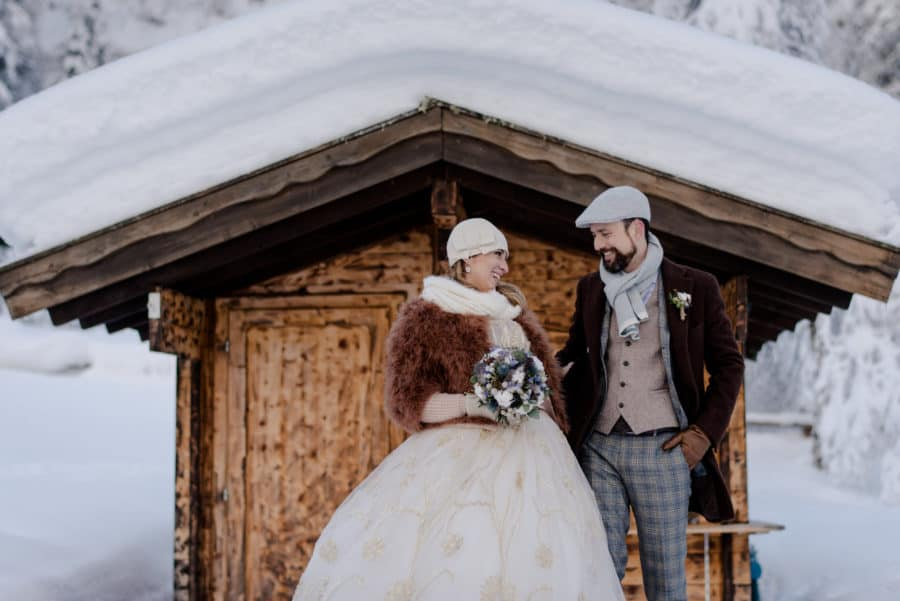 winter wedding in italy couple portrait