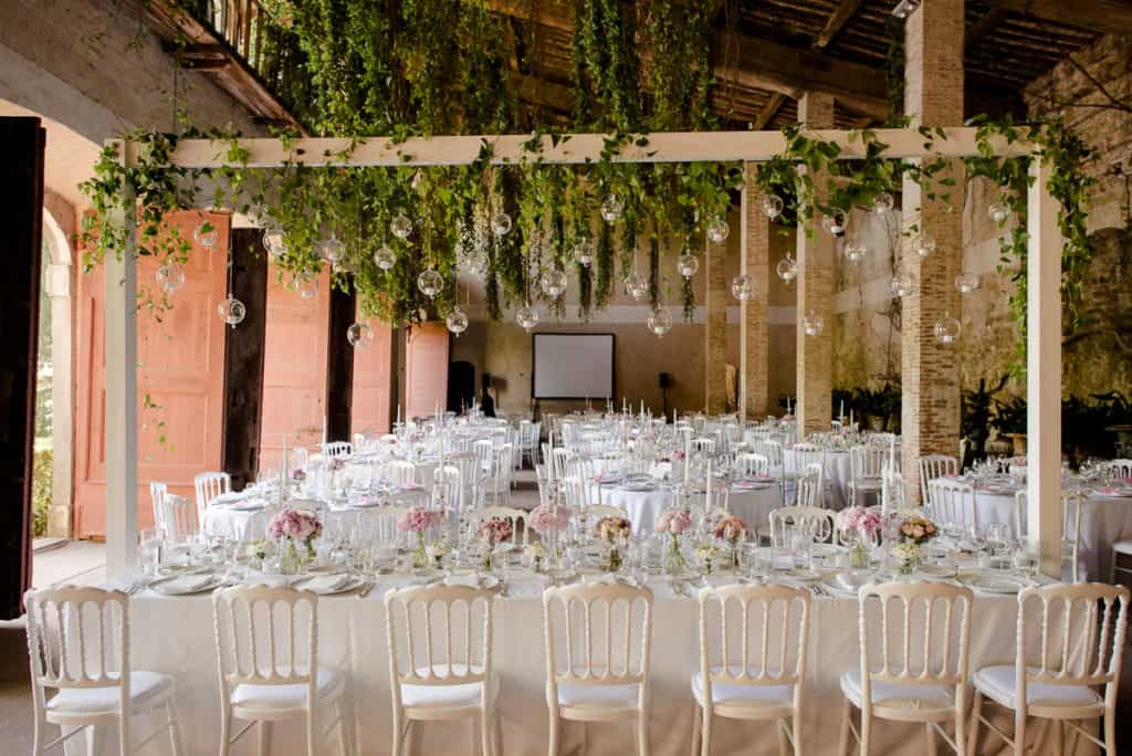Tuscany style wedding dinner decorations
