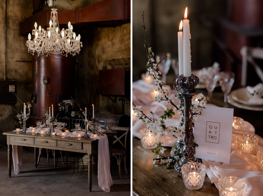 Glowing candlesticks tuscany Wedding Centrepiece
