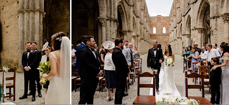 Bride and groom ceremony san galgano abbey