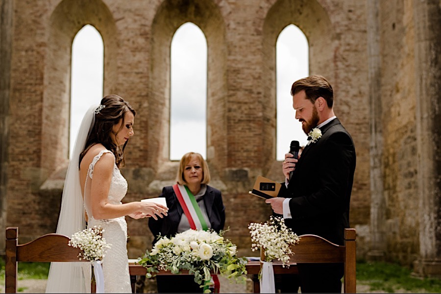 Bride and Groom exchanging their vows at san galgano abbey