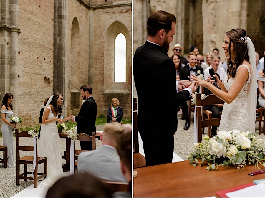 Bride and Groom exchanging their rings at san galgano abbey
