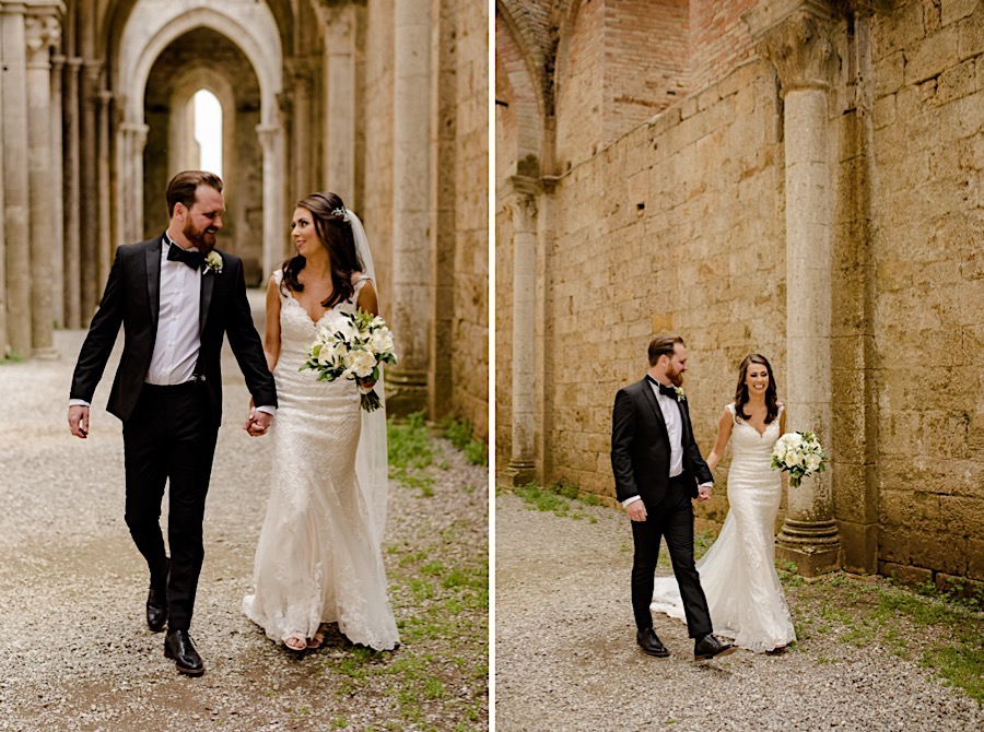 Bride and Groom walking together at San Galgano Abbey