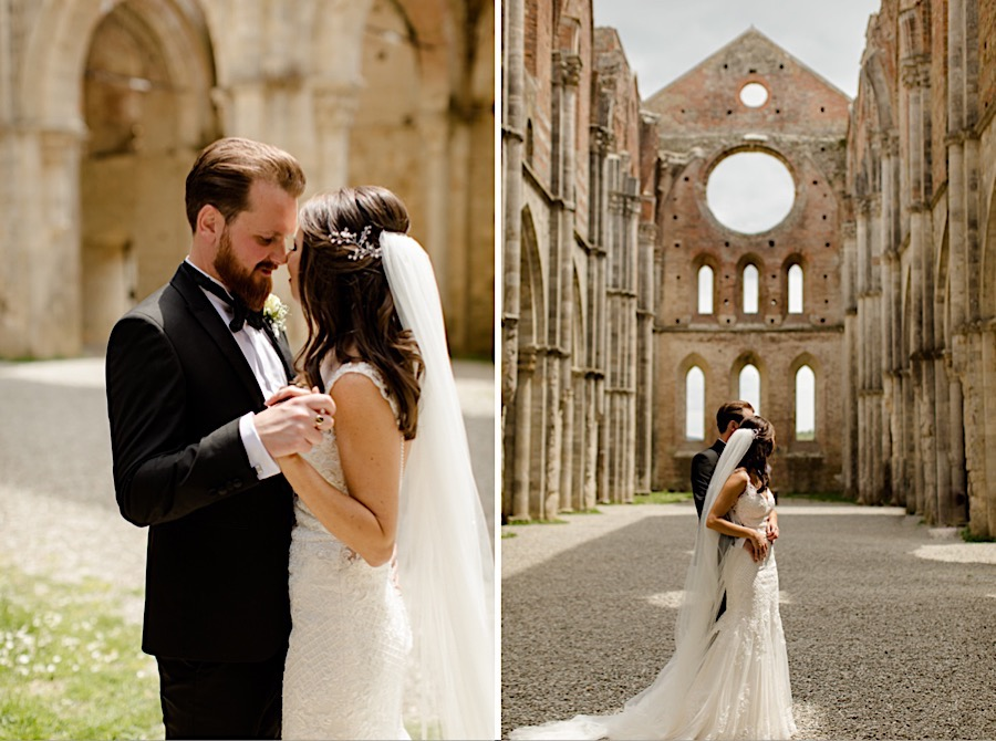 Bride and groom at san galgano abbey