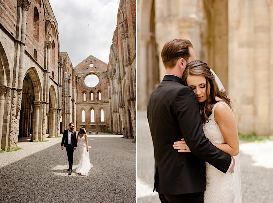 Bride and groom embracing each other at san galgano abbey