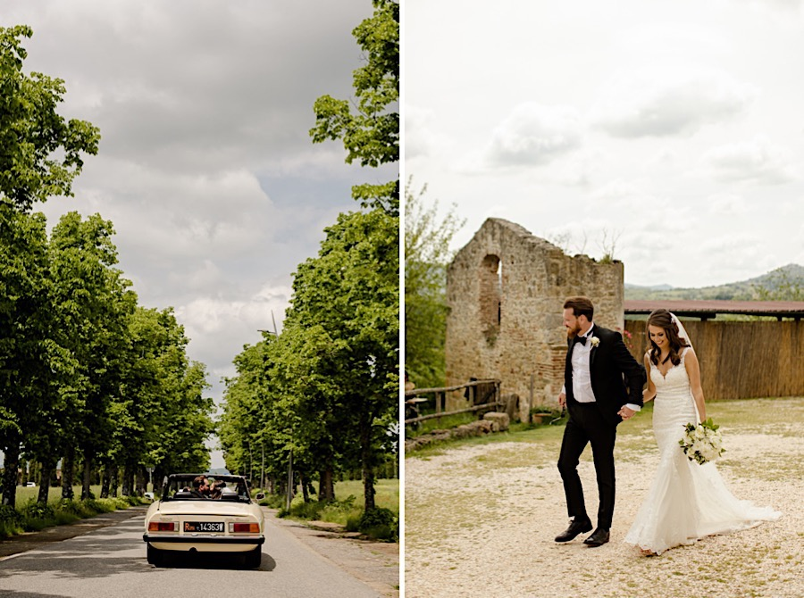 Bride and groom in a vintage car arriving at tenuta di papena
