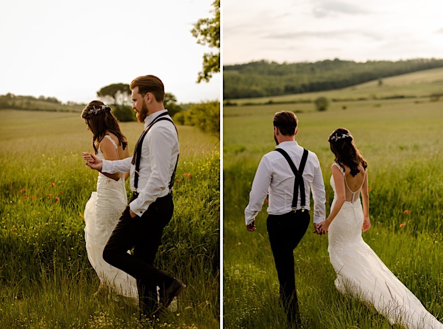 bride and groom walking on the tuscan countryside