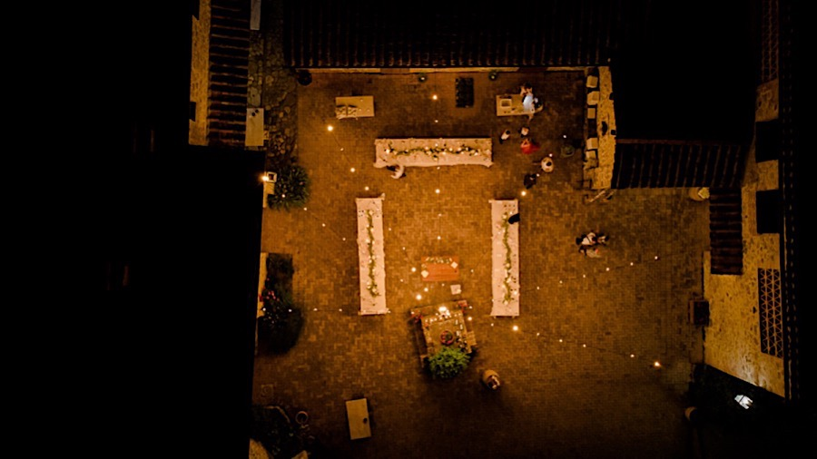 Wedding dinner setting shooted by drone from the top