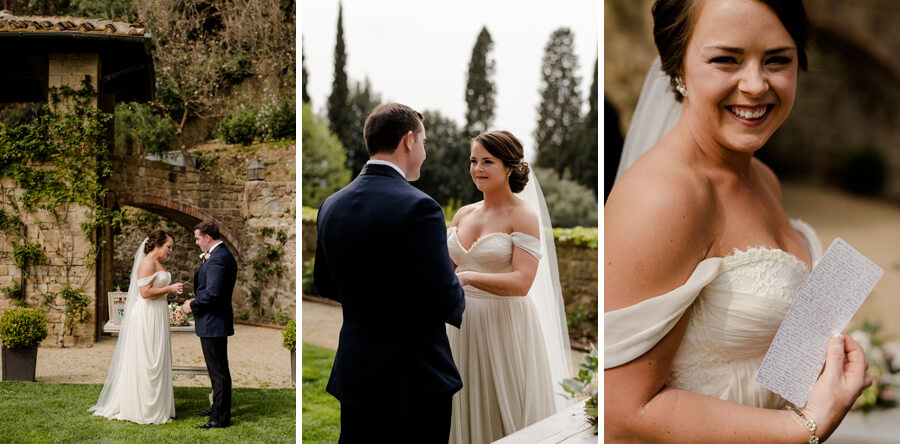 Bride and Groom reading their vows at Villa Le Fontanelle
