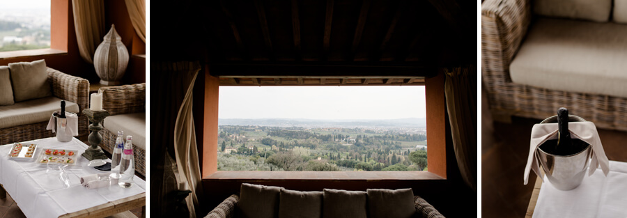 window with a spectacular view of Florence at Villa Le Fontanelle
