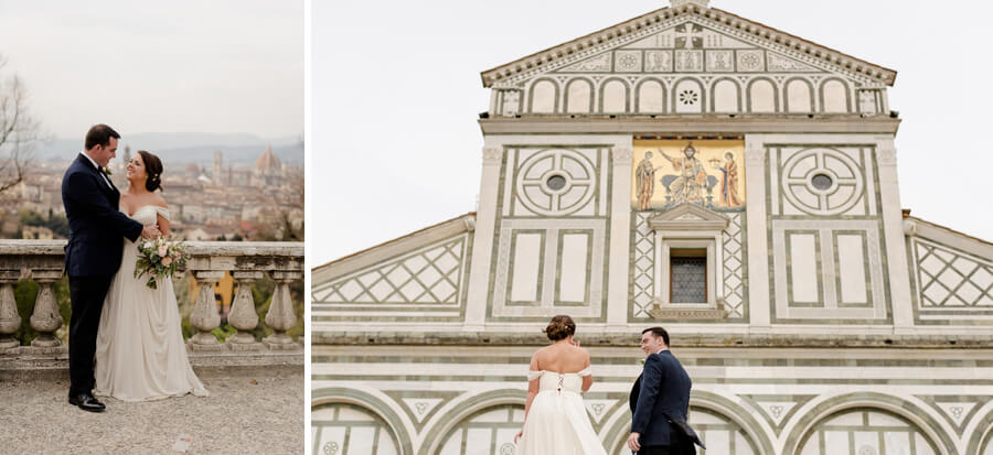 Bride and Groom portrait at Piazzale Michelangelo with the view of Florence