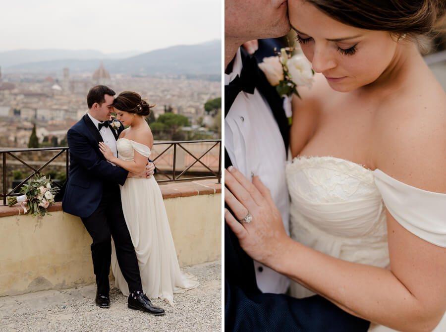 Romanic photo with Bride and Groom close each other intimate in Florence