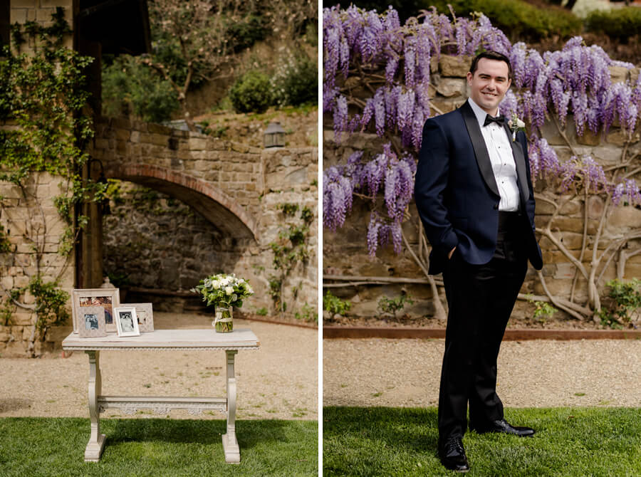Groom portrait ahead to a wall with wisteria