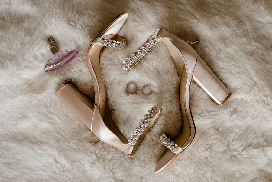 shoes and wedding rings details