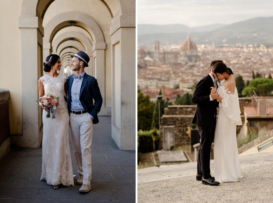 couples who got married in florence walking together