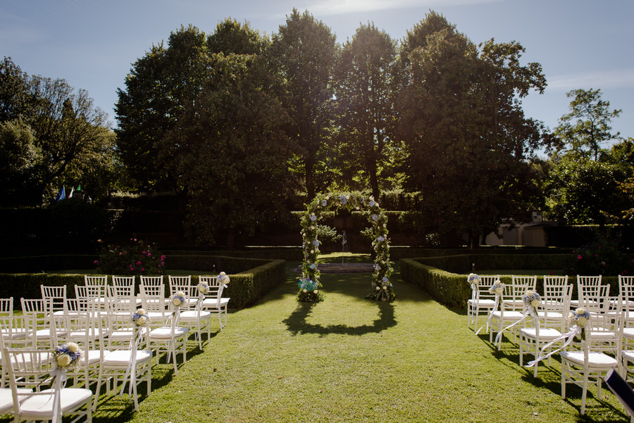 ceremony set up in the garden of villa la vedetta
