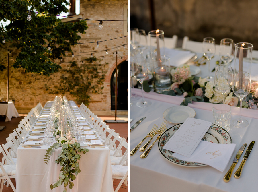 a wedding table setting with an amazing atmosphere in tuscany