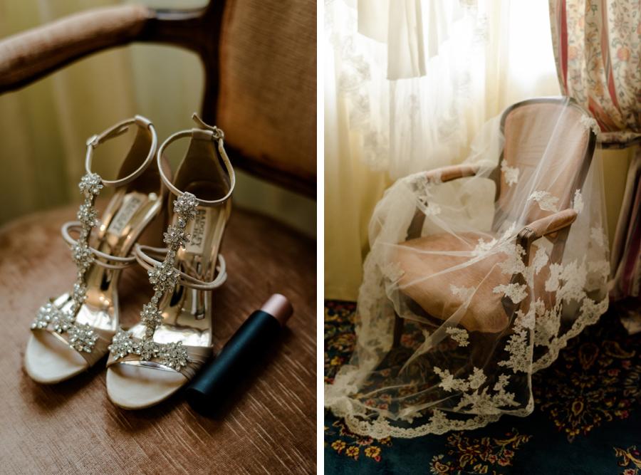 bride details shoes and veil