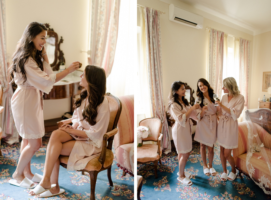 getting ready of the bride with bridesmaids