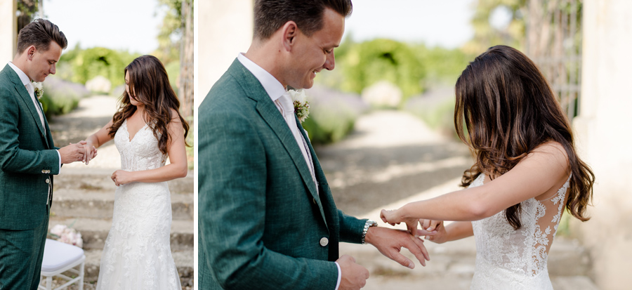 wedding ceremony at Tenuta di Pratello Country Resort exchanging of the rings