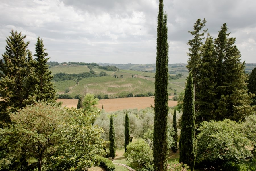 view on the tuscan hills from montegufoni castle