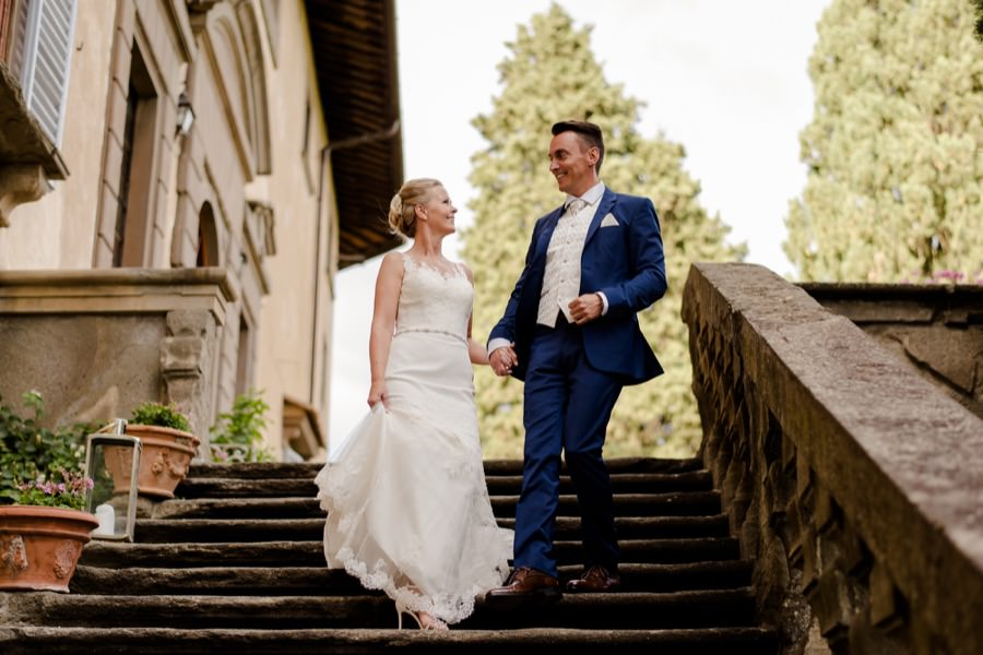 bride and groom portrait at montegufoni castle
