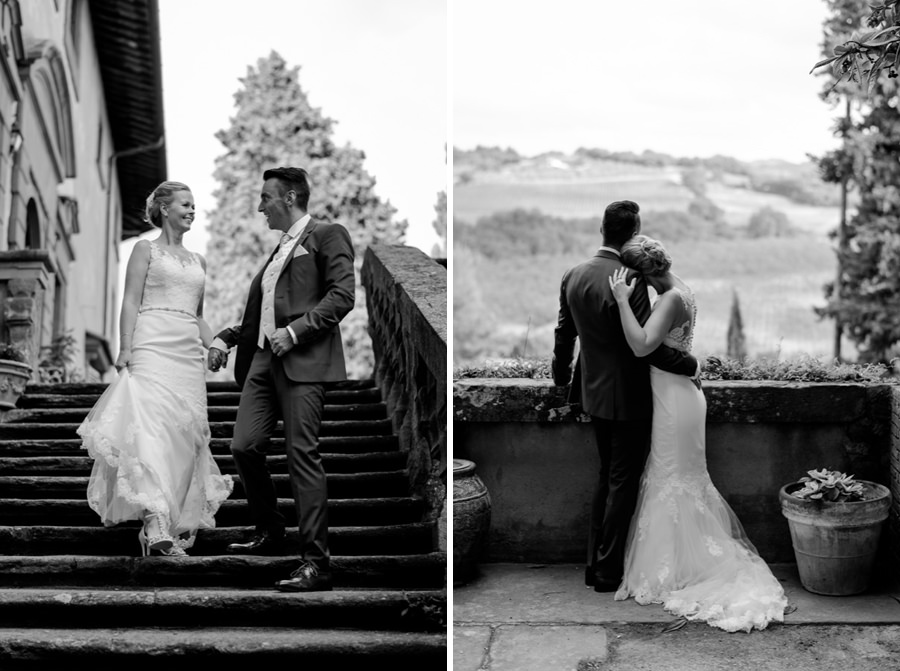 wedding couple at montegufoni castle