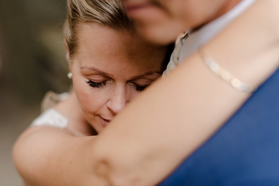 intimate moment of bride and groom